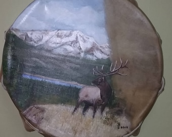 Hand painted buffalo hide drum