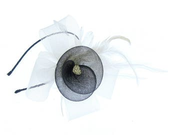 Black and white fascinator headband, weddings, races, prom