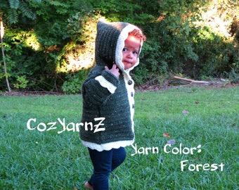 Girls crochet sweater, forest green & cream hoodie sweater, baby sweater, 12 to 18 month sweater, toddler sweater, child jacket, cozy, hood