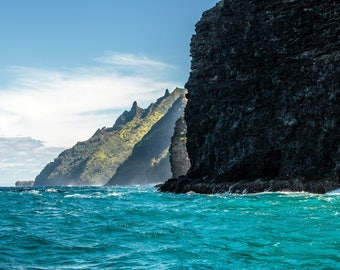 Na Pali Blue - Coast Water Ocean Hawaii Kauai, 8x10 Aluminum Metal Print, Fine Art Landscape Color HD Photography Perfect for Home or Office