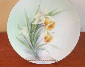 Hermann Ohme Silesia Porcelain Daffodil Plate Artist Signed reduced price