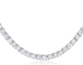 Silver Necklace With Wrap Around Cubic Zirconia - 17 Inches Length (nz016)