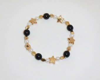 Black and Gold Star Bracelet