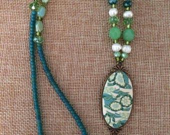 Sea foam green necklace