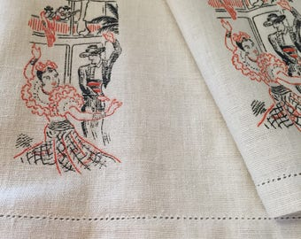 Pair of Vintage Spanish Painted Linens
