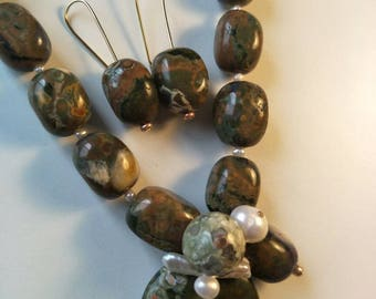 Western Australian Rainforest Jasper and Freshwater Pearl Necklace with matching earrings.