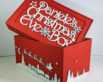 Personalised Christmas Eve box  Festive Xmas Children Christmas eve Box red gift tradition family wooden wood large handmade wooden boxes