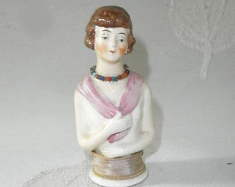 antique rare a.glazed half doll w. rose/pin cushion doll/porcelain/Germ.