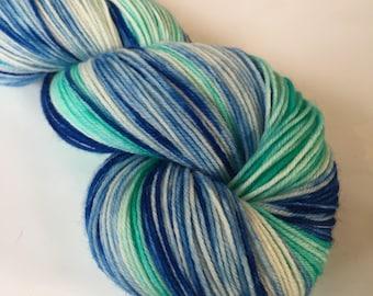 Hand dyed yarn - Caribbean Coast - Moor - 100% superwash merino wool - fingering weight sock yarn