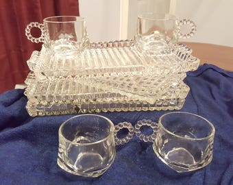 1950's Hazel Atlas Berwick Boopie Orchard snack trays and cups