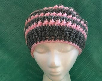 Adult Woman's crocheted Gray and Pink Slouch beanie