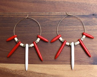Red and White Spike Hoop Earrings