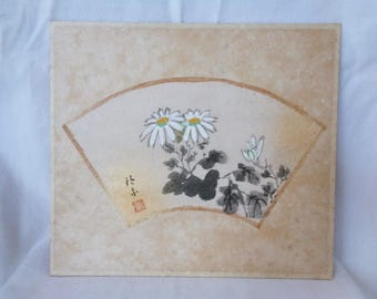 VJ73:Shikishi board,Old Japanese watercolor/ink painting ''Chamomile'',the art of sumi-e on rice paper paste on shikishi board,Artist sign.
