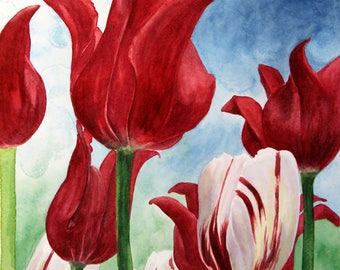 Red Tulips, Set of 5 Note Cards with Envelopes from Original Watercolor Painting