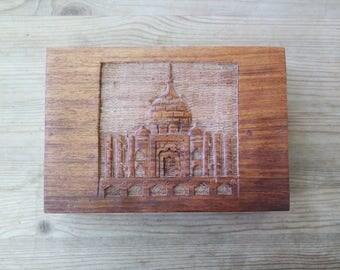Vintage Hand Carved Taj Mahal Wooden Jewelry Box