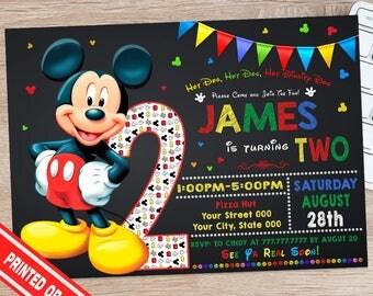 ON SALE 30% Mickey Mouse Birthday Invitation - Mickey Mouse 2nd Birthday Party - Mickey 2nd Birthday - Mickey Mouse Second Birthday Party
