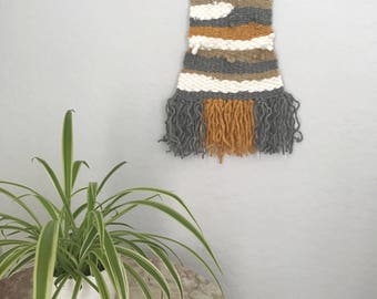 Mustard and Gray woven wall hanging