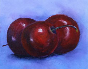 Original Cherry Still Life Oil Painting