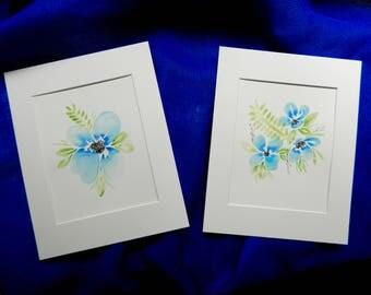 "Set of 2 Original Blue Floral Watercolor Paintings-(8""x10"" paintings in 11""x14"" mats)"