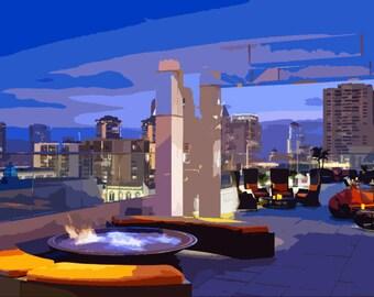 Rooftop Bar/Nightclub Skyline Paint Style Print/Poster/Wall Art