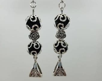 Silver and black ball dangle earrings
