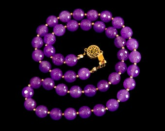 Purple necklace with 14K gold filled clasp