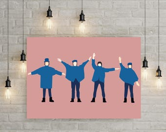 The Beatles Help Minimalist Poster in Millennial Pink