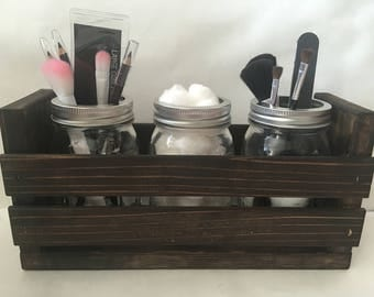 Modern Farmhouse Bathroom Vanity Countertop Organizer Makeup Holder Cotton  Ball Holder