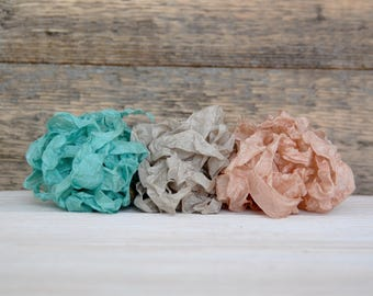 Crinkled Seam Binding Ribbon / Seafoam / 9 yards