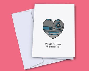 Valentines Day Card Love Star Wars Droid R2D2 Greeting Card With Envelope Anniversary Special Occasion A5 Card
