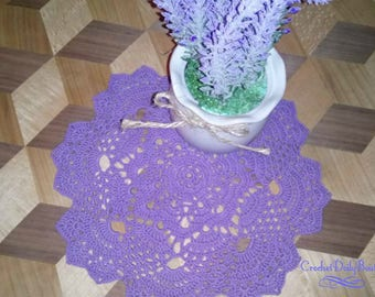 Purple Doily, CROCHET DOILY , round crochet doily in purple color, made with cotton thread in 8 inches , 20 cm