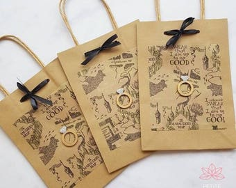 Harry Potter Marauders Map Hen Party Wedding Gift Favour Kraft Paper Bags