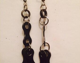 Re-purposed bike chain earrings