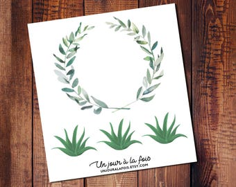 Crown of leaves and aloe vera stickers