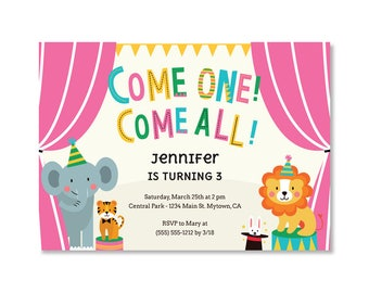 Printed Circus birthday invitations