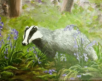 Badger original acrylic painting