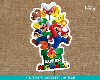 Super Mario centerpiece print yourself, Super Mario birthday centerpeice, Super Mario birthday cake topper