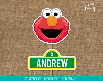 Elmo centerpiece print yourself, Elmo birthday centerpiece, Sesame street birthday centerpiece