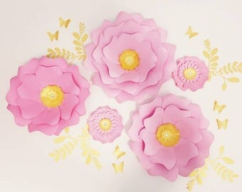 Pink paper flowers wall. Large gold paper flowers wall. Nursery pink flowers wall. Baby shower backdrop pink flowers. Girls room decor.