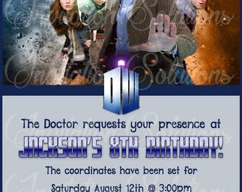 Doctor Who The 11th Doctor Party Invitation/ Dr. Who Birthday Party invite