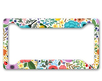 Bright All Over Flower Pattern Print - Bright Colored Boho Hippie Folk Floral Pattern - Auto License Plate Frame - LP1470