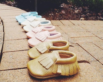 Gold Handmade Leather Moccasins