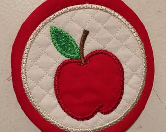 Set of 4 Embroidered and Appliqued Apple coasters