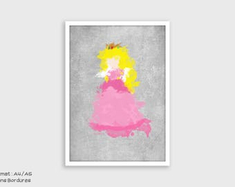Illustration of Princess Peach Minimalist (Super Mario) - A4/A5 - Watercolor