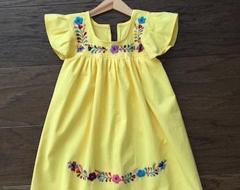 Handmade embroidered girls dress. Mexican dress