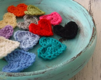 CROCHET HEARTS SET of 8 Free Post choose your colour made to order great for card making gift wrapping scrapbooking appliqué motif
