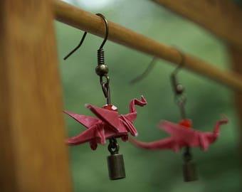 Fiery Red Origami Dragon Earrings