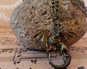 Antique bronze dragon pendant necklace