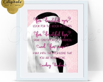 Pink Audrey Hepburn Printable Quote, Digital 8x10, Wall Art, For Beautiful Eyes, Inspirational Quotes, Audrey Poster Sign, Instant Download