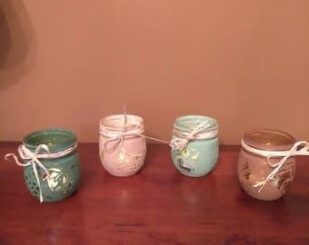 Set of 4 Painted Mason Jars - Tea Light Design
